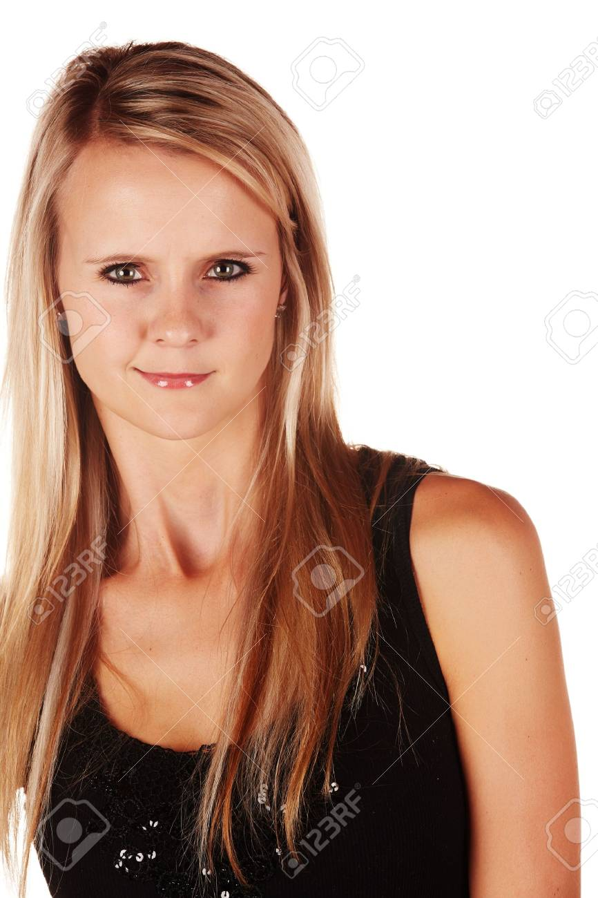 Beautiful and very sexy young adult caucasian woman in a casual black top with blonde hair and green eyes, isolated against a white background Stock Photo - 18394548