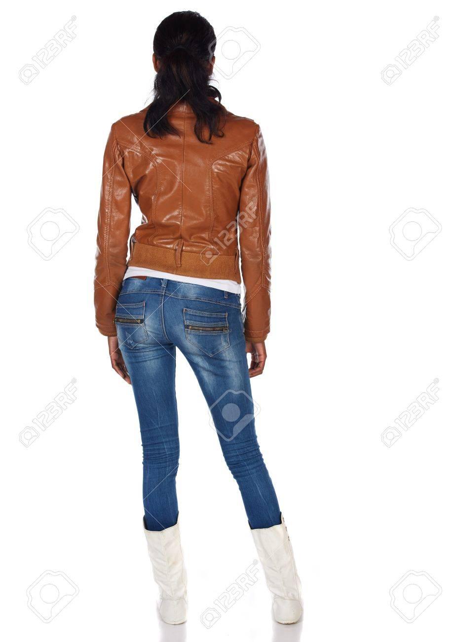 Veste marron jean bleu
