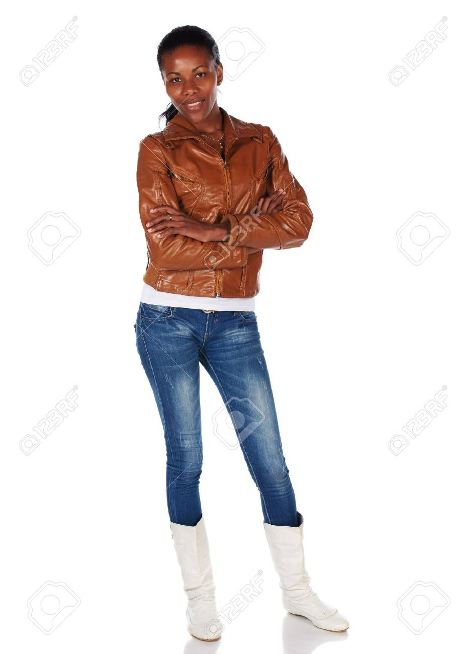 Beautiful black african young adult woman casually dressed in a brown leather jacket Stock Photo - 20335274