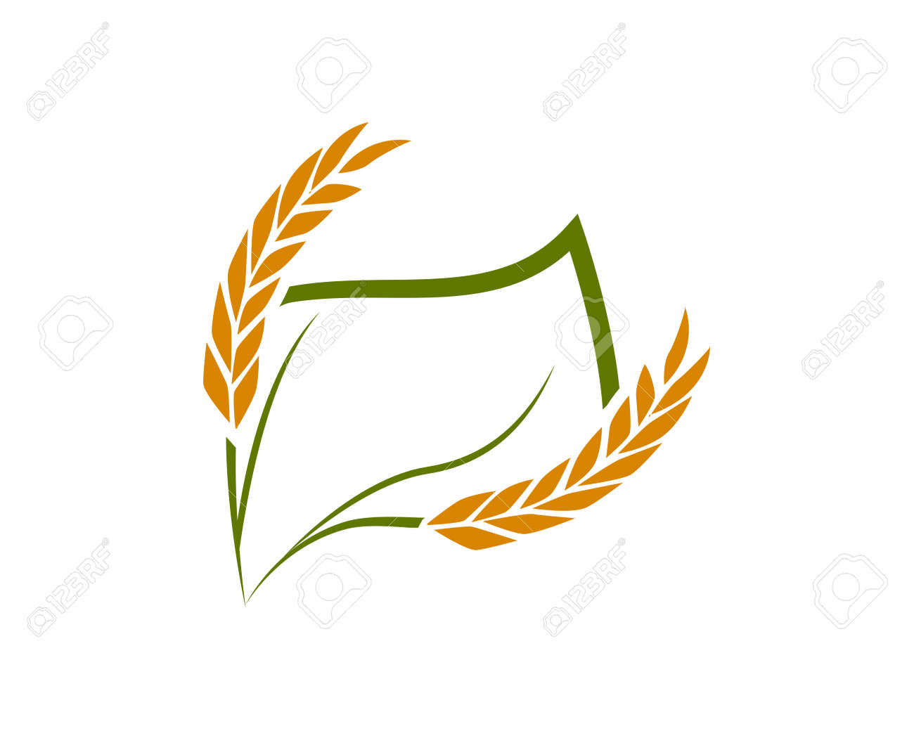 Rice and wheat logo template suitable for businesses and product names. This stylish logo design could be used for different purposes for a company, product, service or for all your ideas. - 166723537