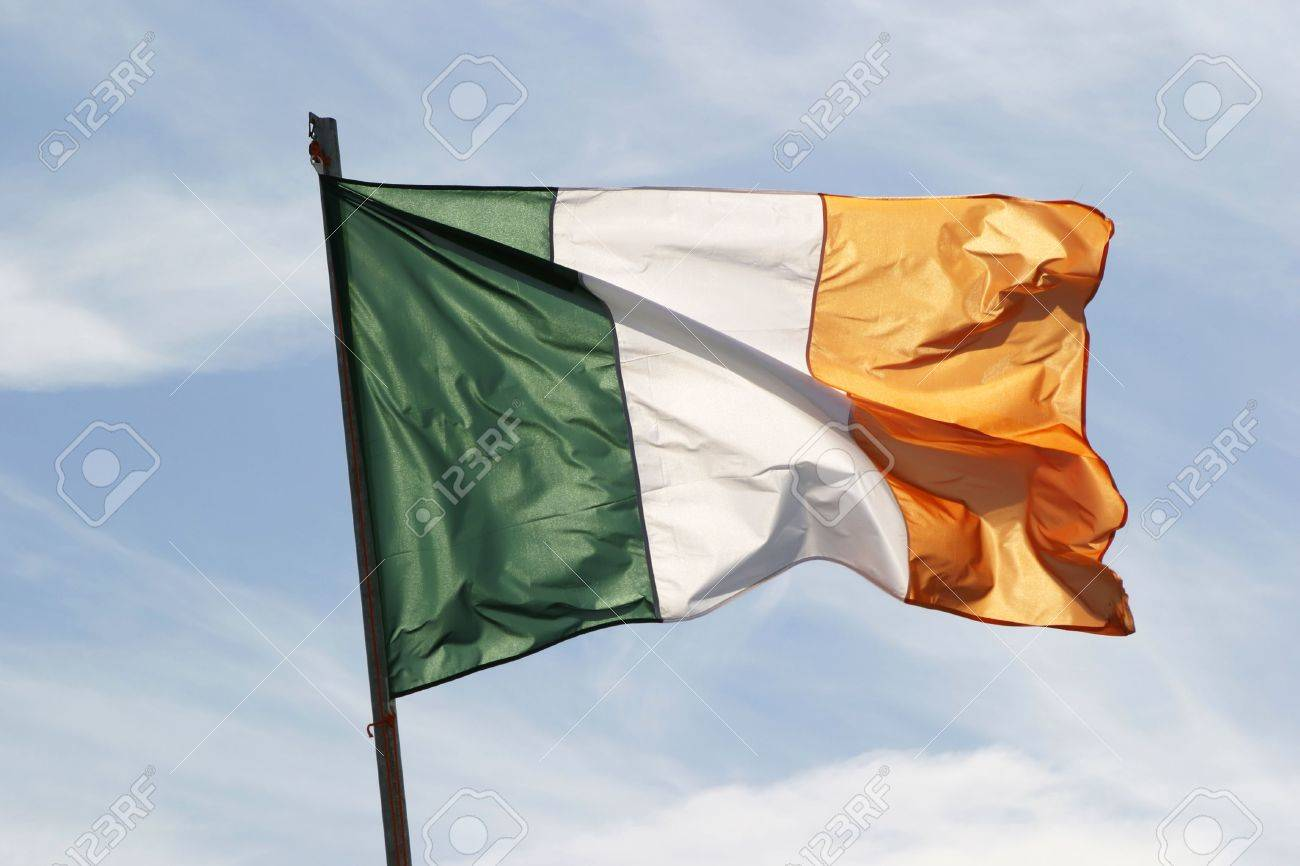 Irish flag waving in the wind Stock Photo - 536719