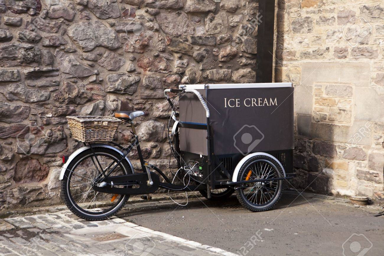 An ice cream cart is built on a bicycle in Edinburgh. Stock Photo - 5954791
