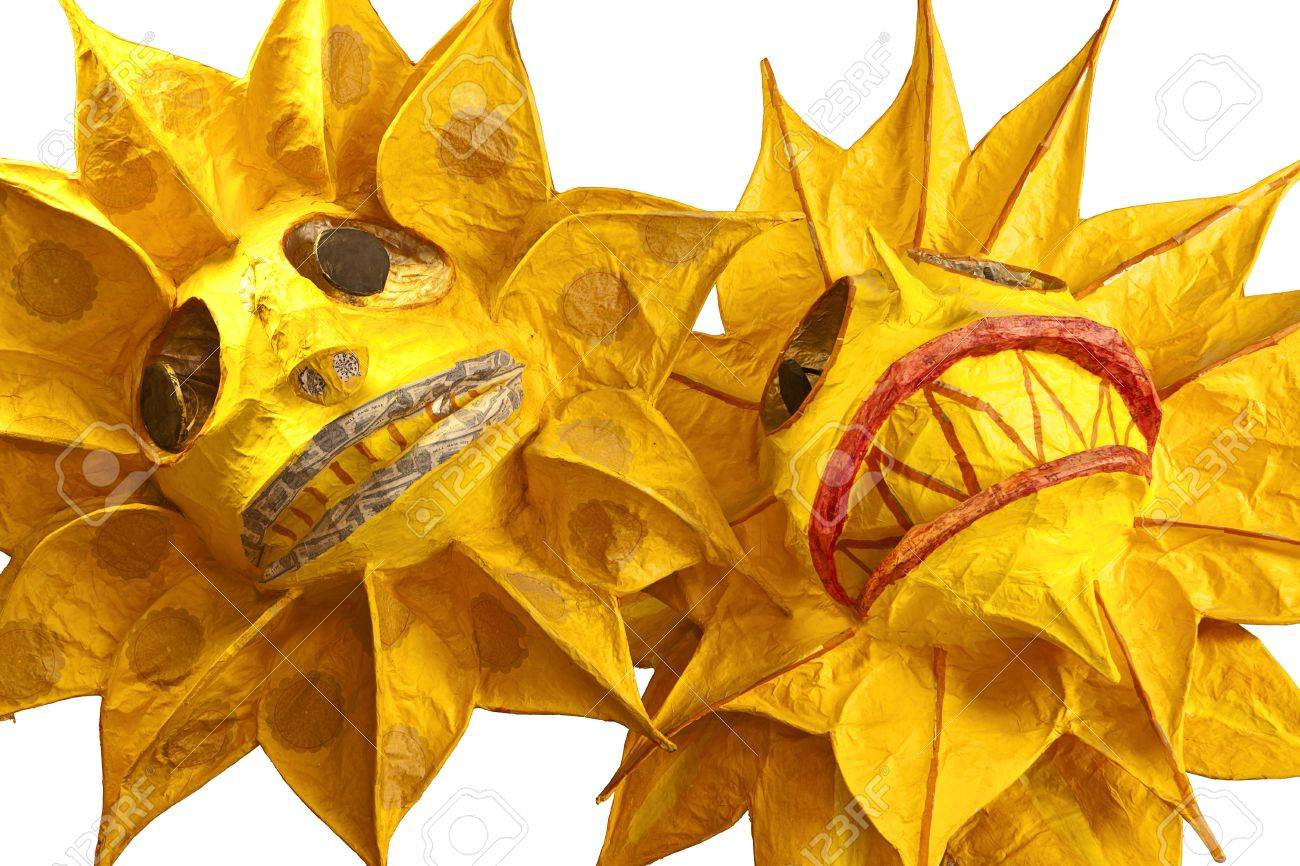 Paper Mache Decorating Two Paper Mache Decorations Of The Sun Isolated To A White Stock