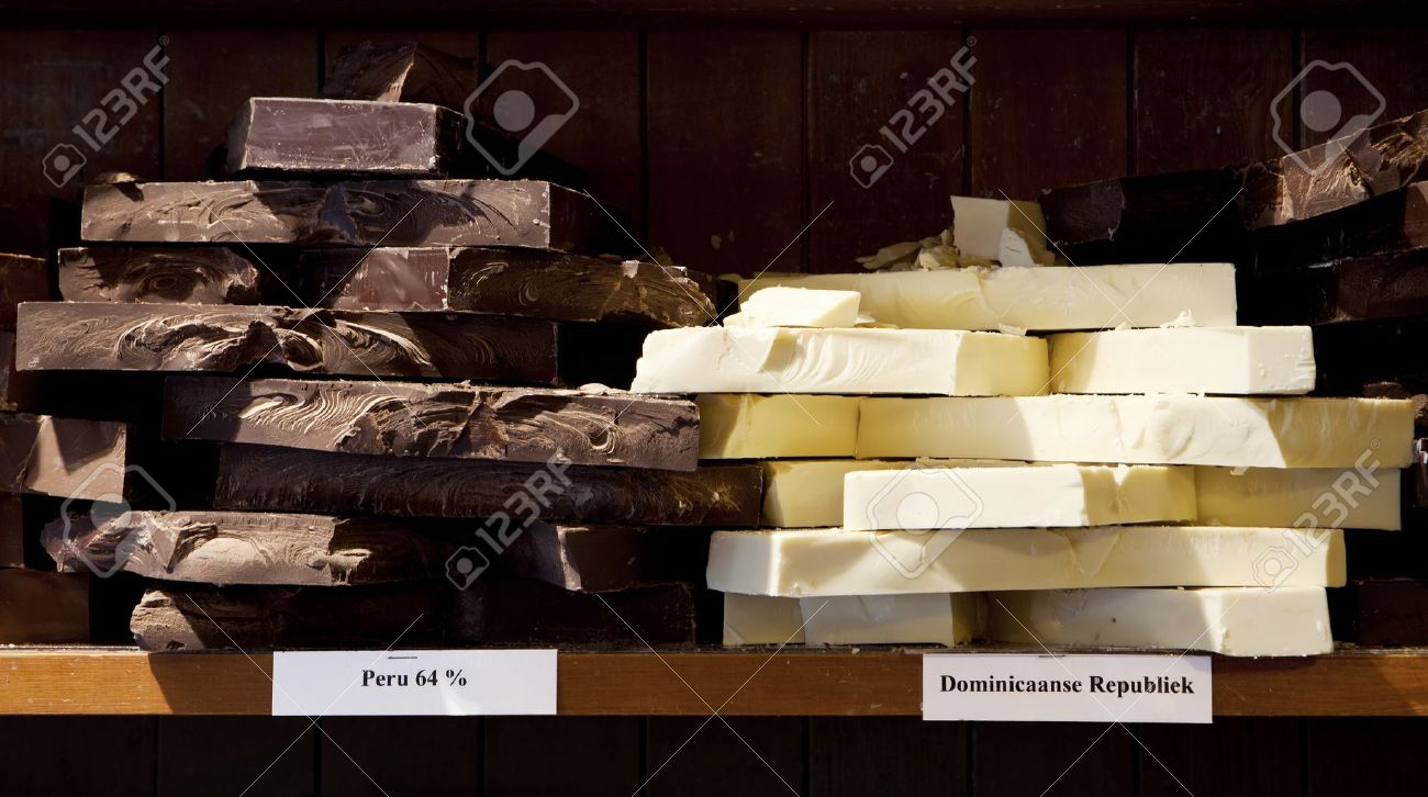 Chunks of white and dark chocolate from different points of origin are for sale in a candy store Stock Photo - 14420155