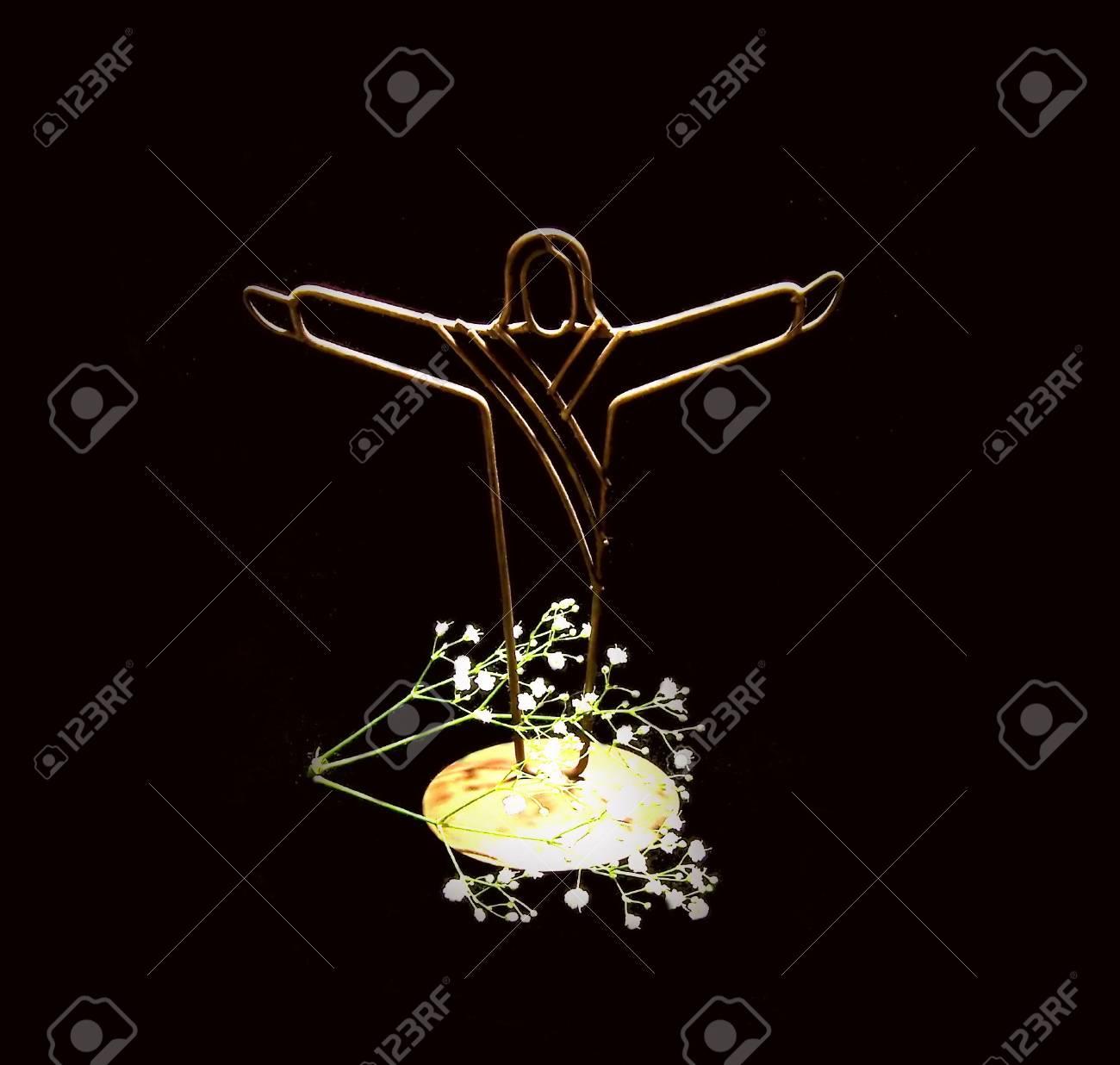 Jesus Christ decoration with babys breath Stock Photo - 777063