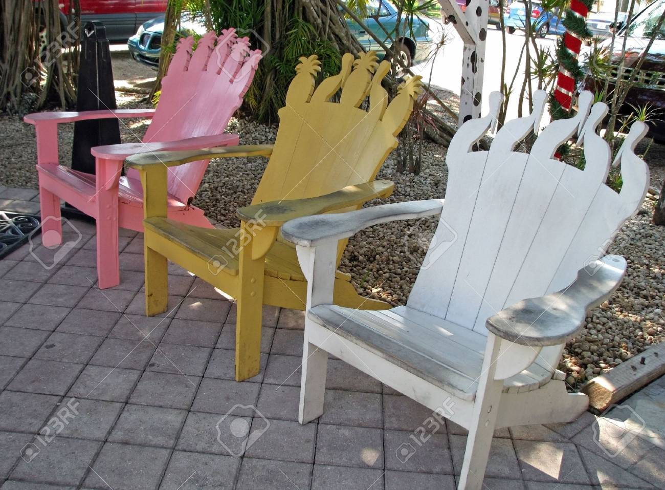 Row Of Three Colorful Painted Adirondack Chairs Stock Photo Picture And Royalty Free Image Image 2670178