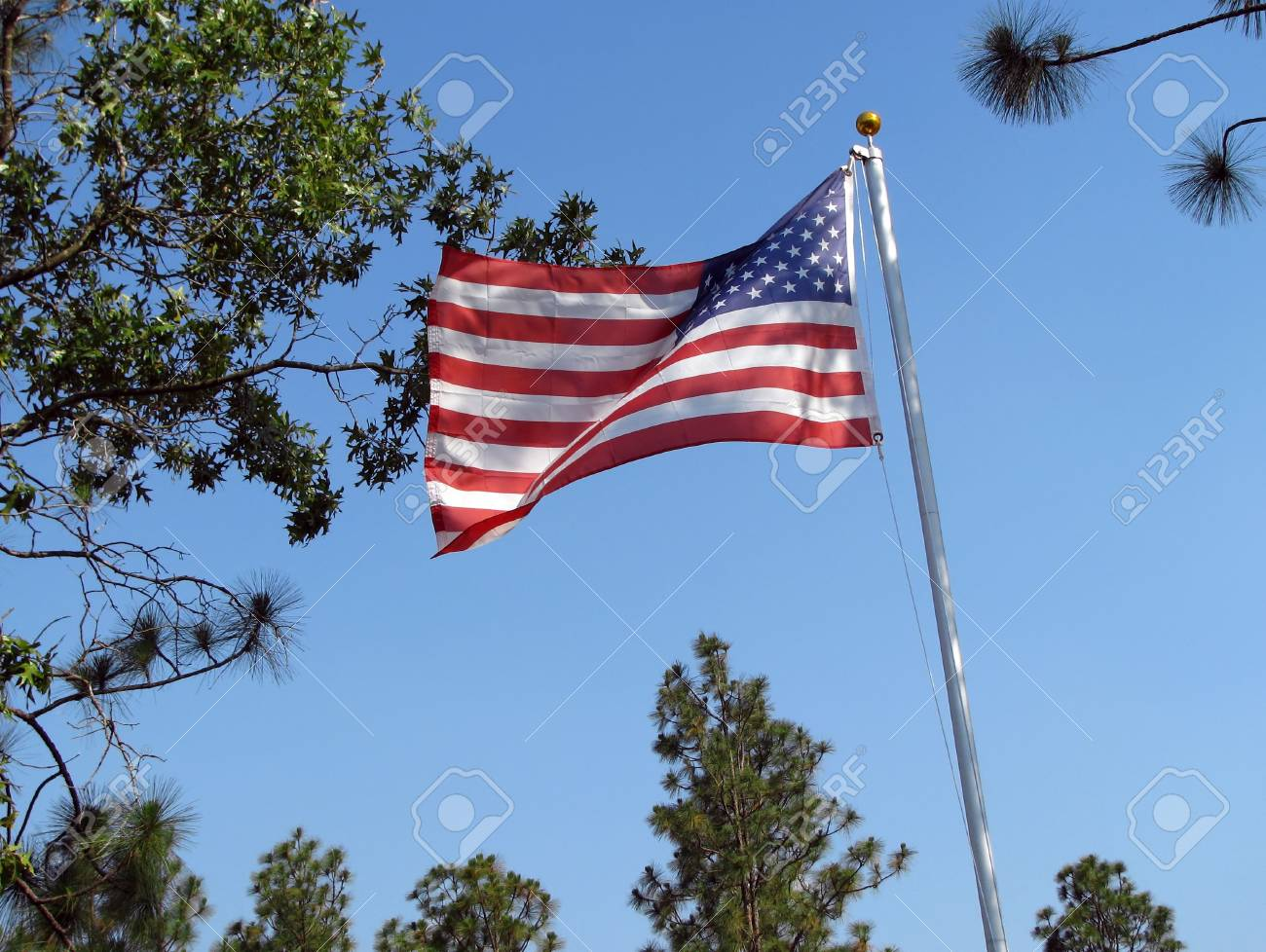 American flag blowing in the gentle breeze Stock Photo - 3274220