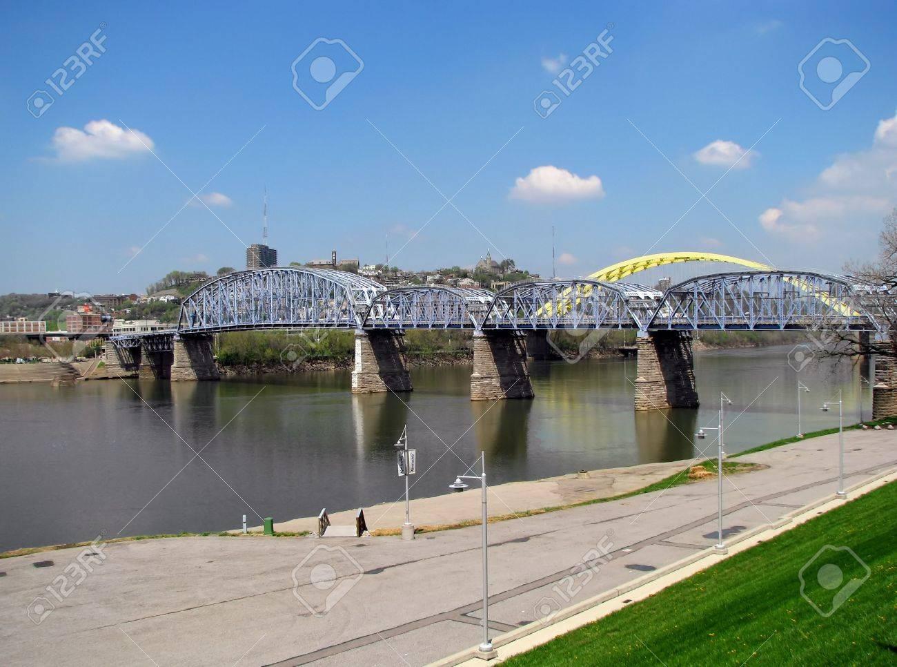 bridges over the Ohio river Cincinnati Kentucky Stock Photo - 3842932