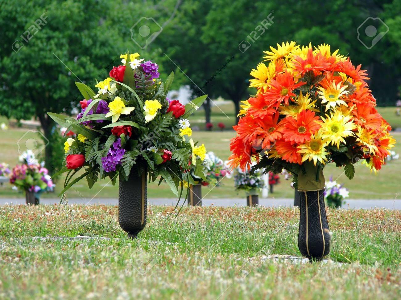 colorful silk flower vases in summer cemetery Stock Photo - 4849883 & Colorful Silk Flower Vases In Summer Cemetery Stock Photo Picture ...