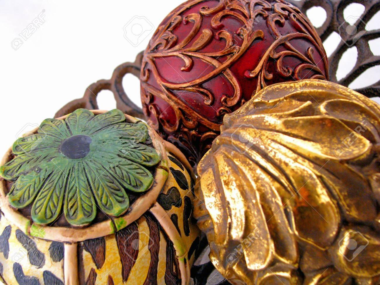 Three Colorful Decorative Balls Centerpiece Home Decor Stock Photo