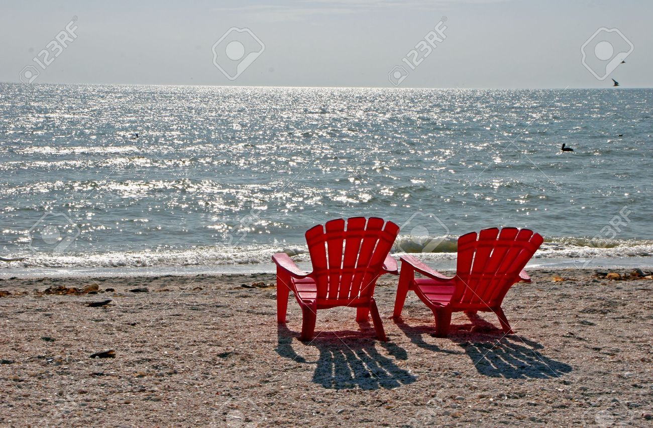 Two Red Beach Chairs Sanibel Island Florida Stock Photo   7056900
