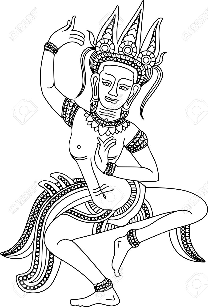 """""""Apsara Draw Me"""" one of the best Khmer arts of Angkor Wat temple in Siem Reap province, Cambodia. It's the world - 11237981"""