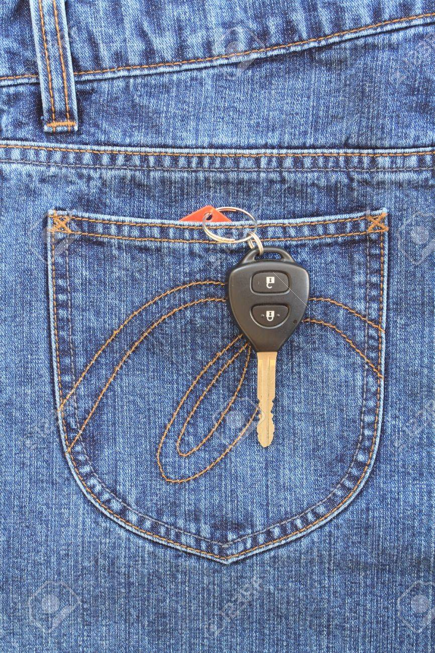 Blue jeans pocket with key Stock Photo - 8941652