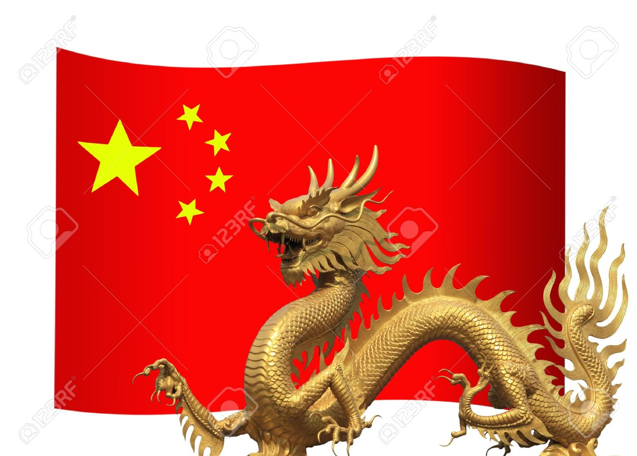 China Flag With Golden Dragon Stock Photo Picture And Royalty - China flag