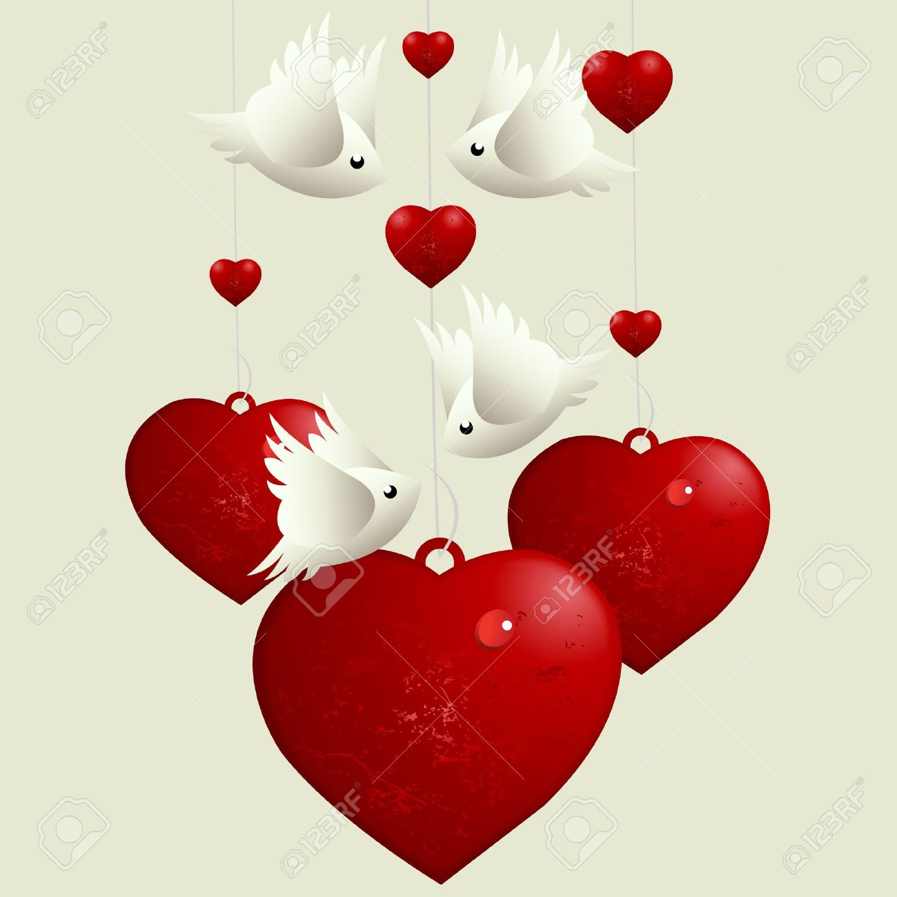 valentine's day concept, lovebirds flying around love hearts royalty