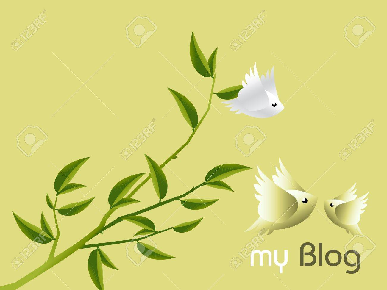 Lovebirds Character flying togetherness around twig, cartoon Illustration. Stock Vector - 7864557