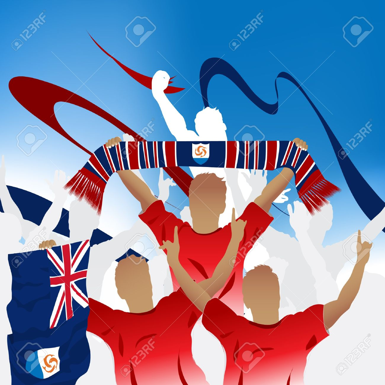Crowd of soccer fan and three soccer players with scarf and flag. Stock Vector - 7864681