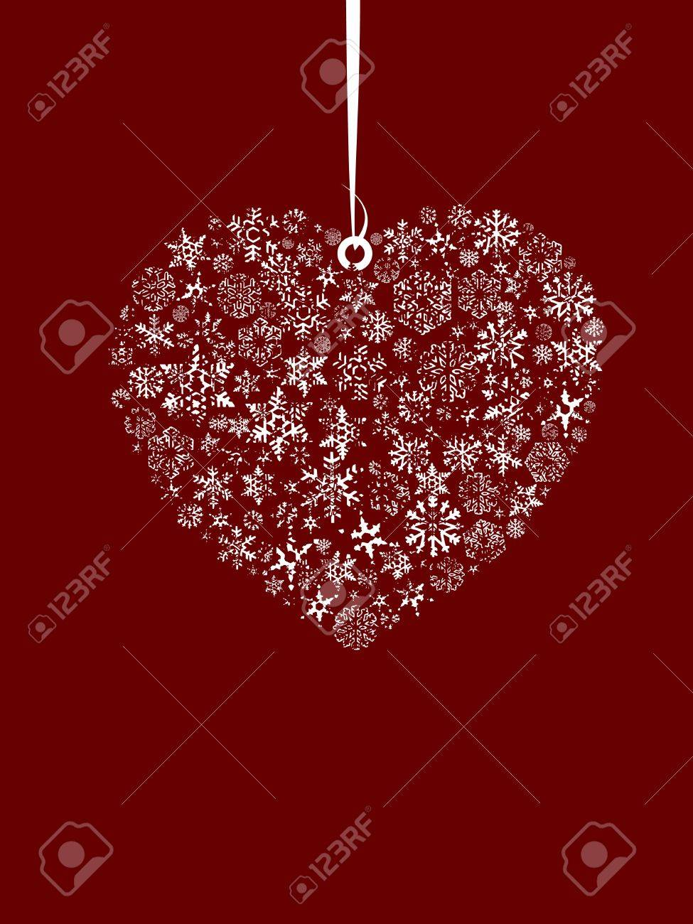 Valentine's Day Concept, set of snowflahes as love heart and small angel. Stock Vector - 7867213