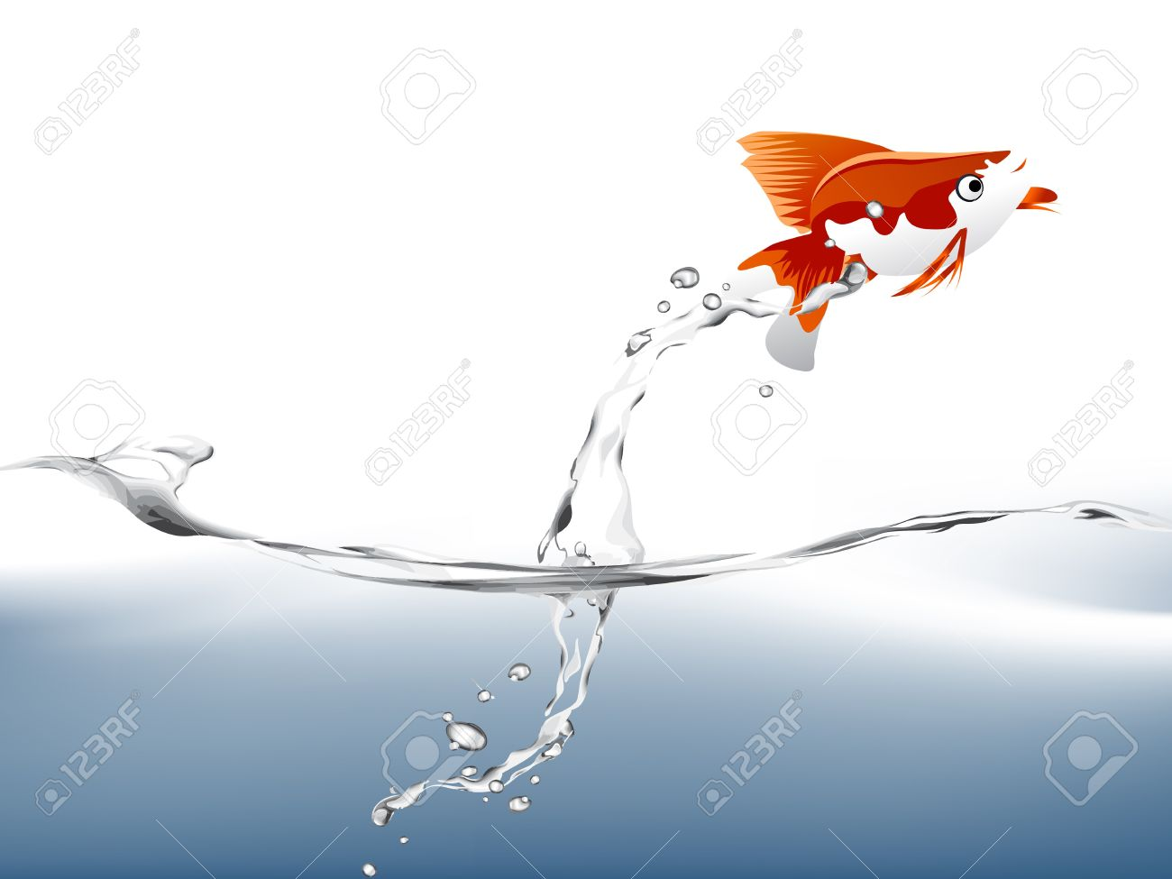 A goldfish jumping out of the water to escape to freedom. Stock Vector - 7867074