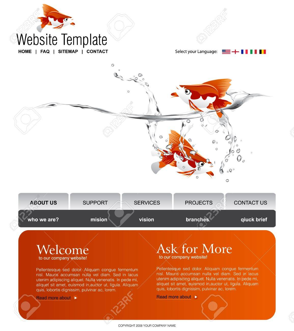 Website Template Stock Vector - 7867123