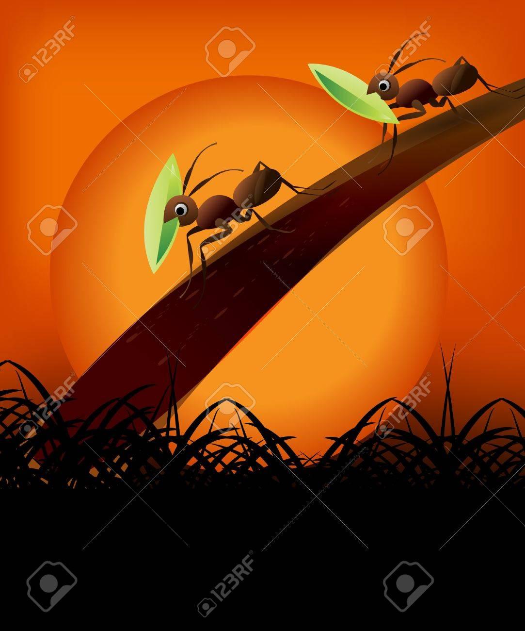 Team Work Spirit, set of ants working together . Stock Vector - 8003158