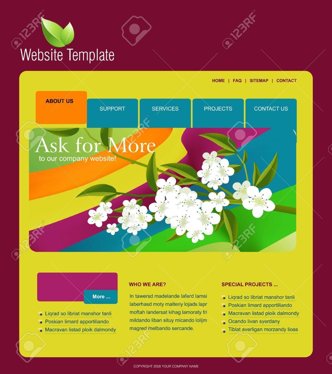 Plantilla De Sitio Web, Fácil De Usar En Adobe Photoshop, Flash O ...