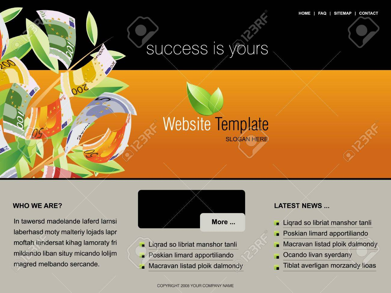 Website Template, easy to use in adobe Photoshop, Flash or Illustrator to export it to HTML format, just edit or replace text and add your sub pages. Stock Photo - 8047661