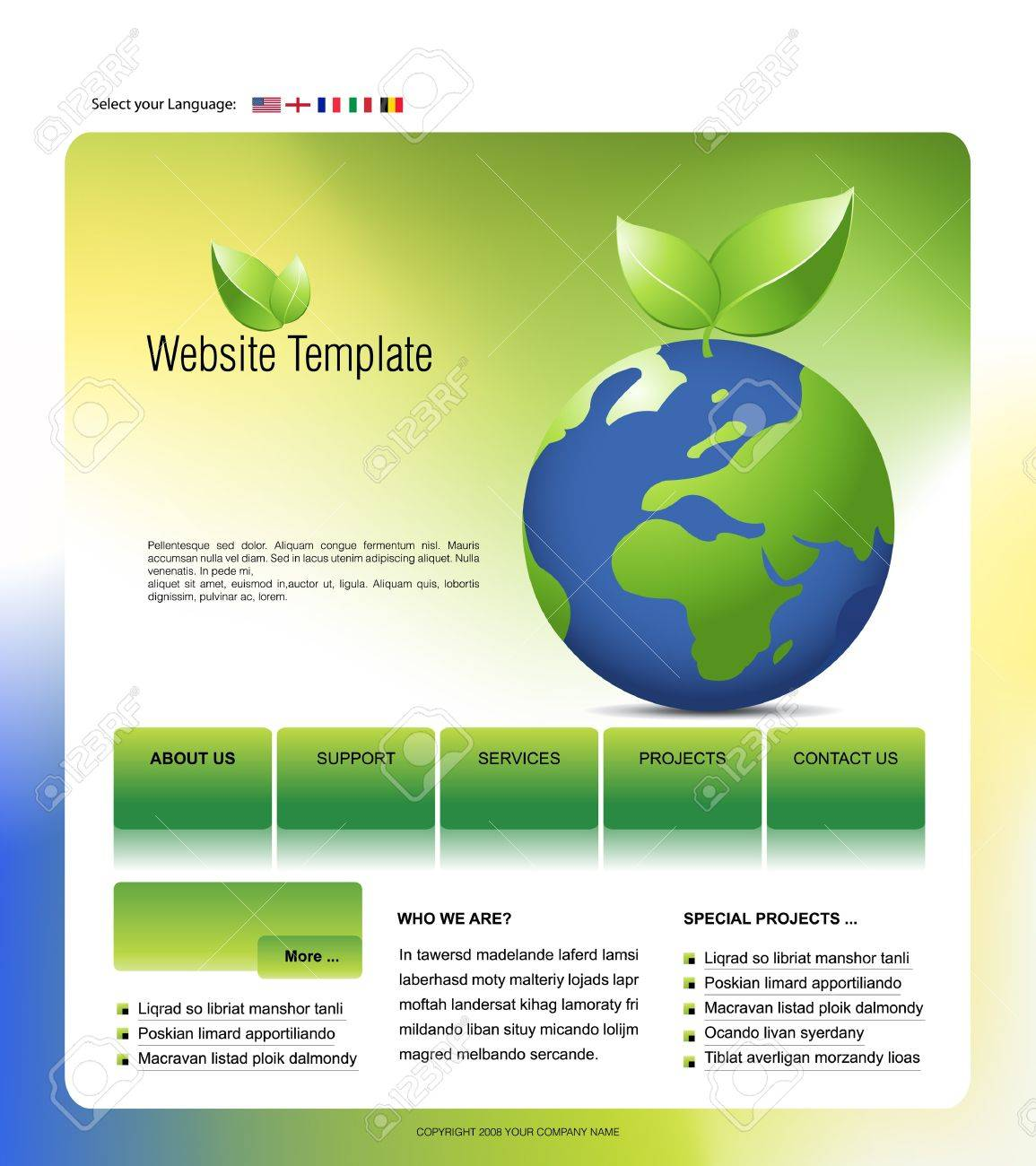 Plantilla De Sitio Web, Fácil De Usar En Adobe Photoshop, Flash O ...