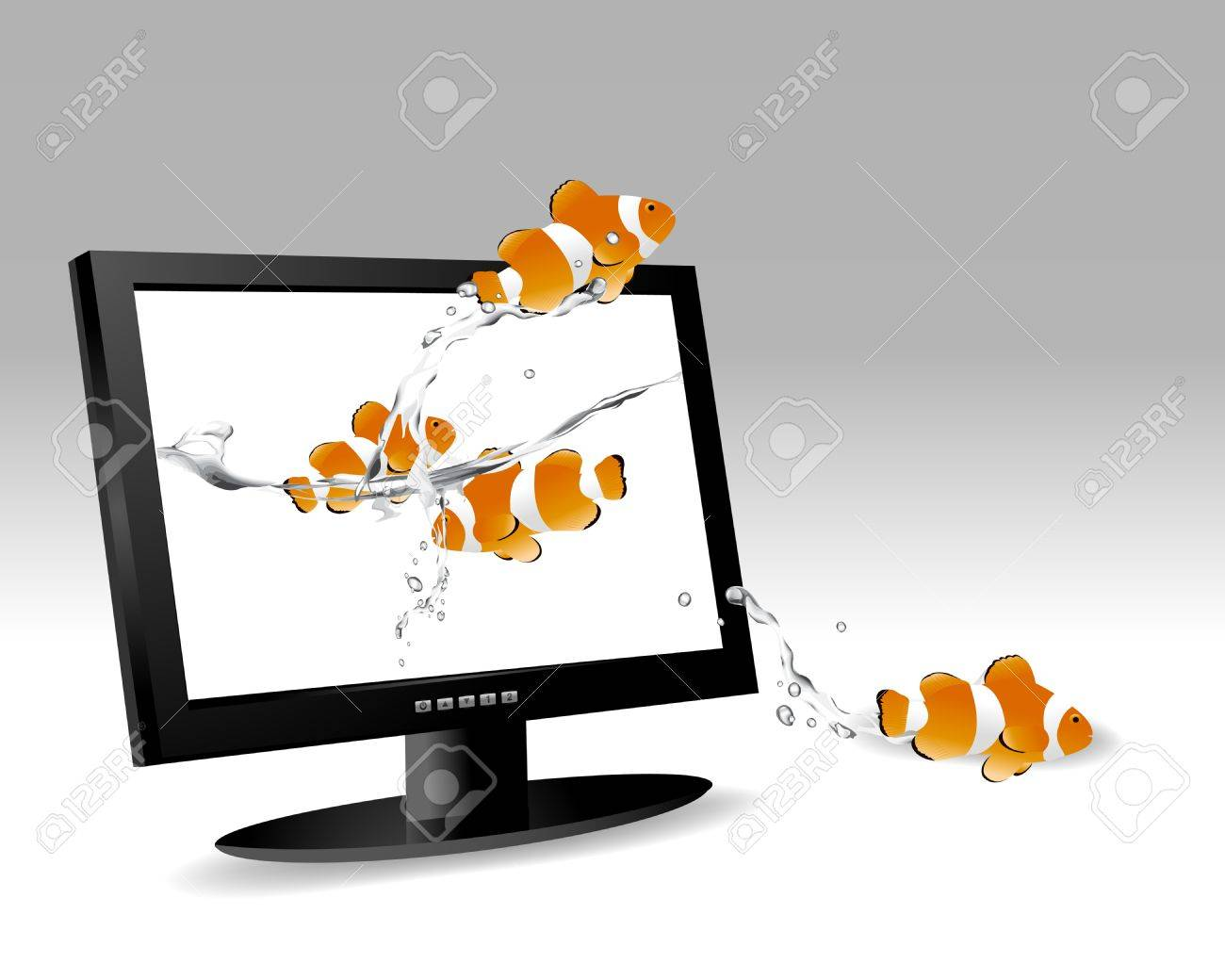 frontal view of widescreen lcd monitor, and clown fish jumping out of the screen. Stock Vector - 8300158