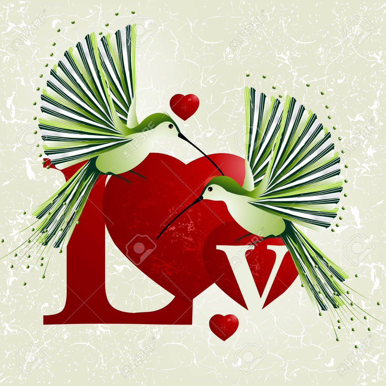 Valentine's Day Concept, humming bird flying around red heart shapes. Stock Vector - 8300952