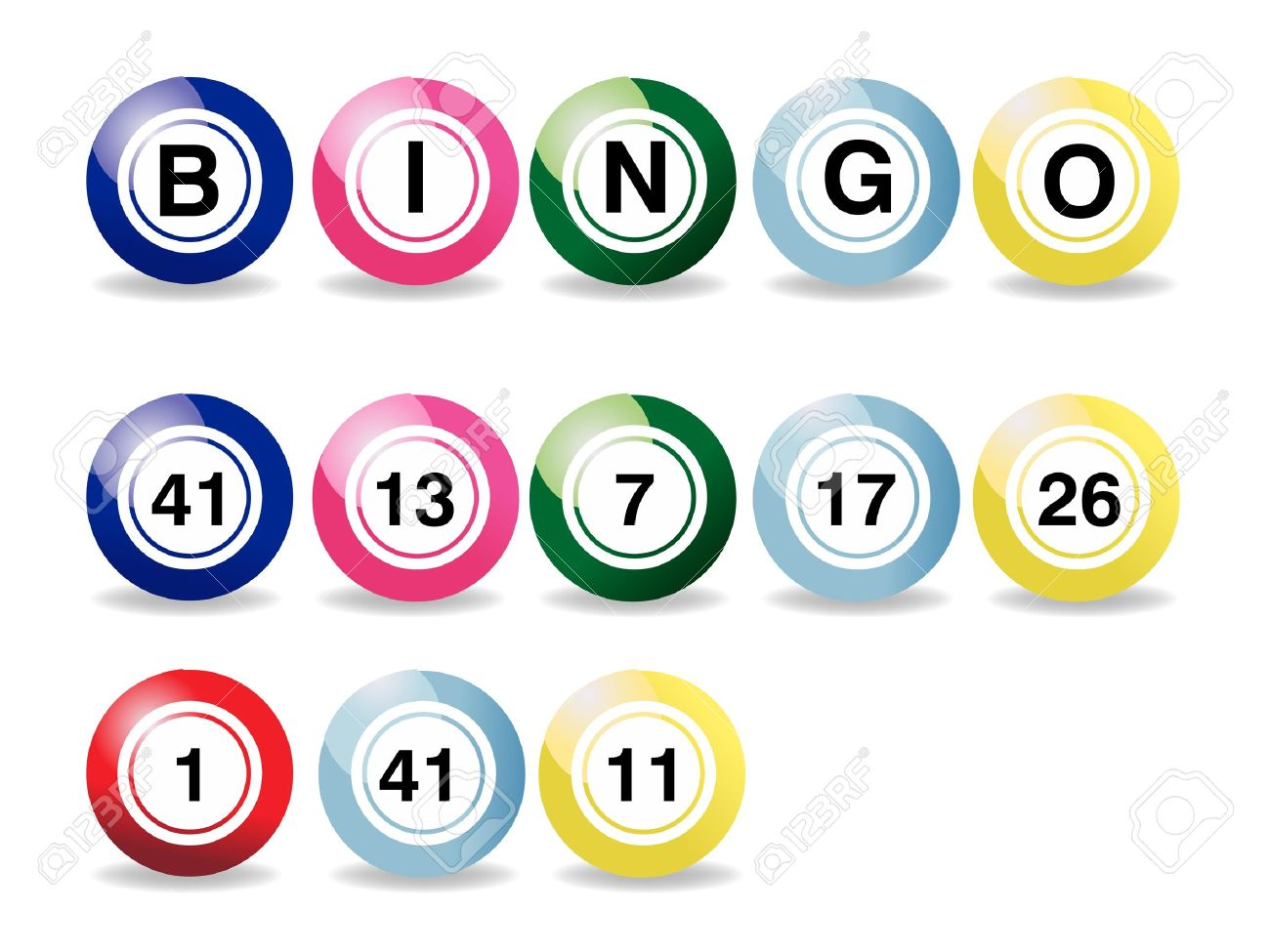 set of coloured bingo balls on a white background Stock Vector - 8301550