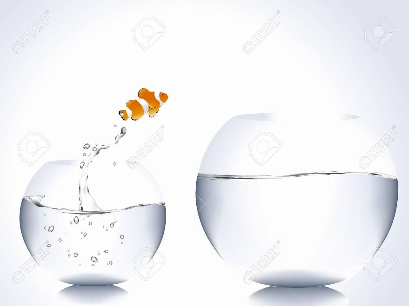 clown fish jumping from small bowl to big bowl. Stock Vector - 8298017