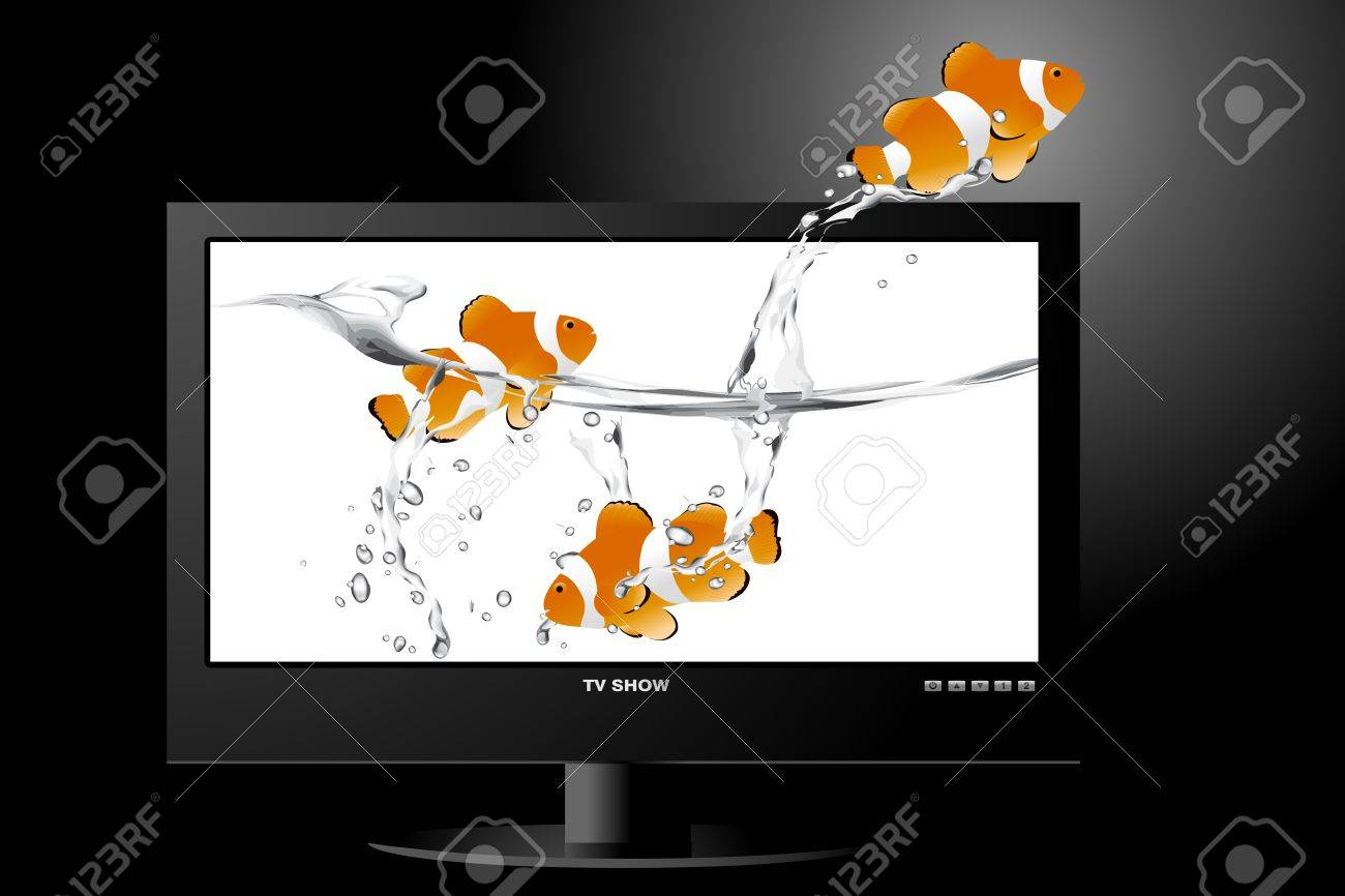 frontal view of widescreen lcd monitor, and clown fish jumping out of the screen. Stock Vector - 8297958