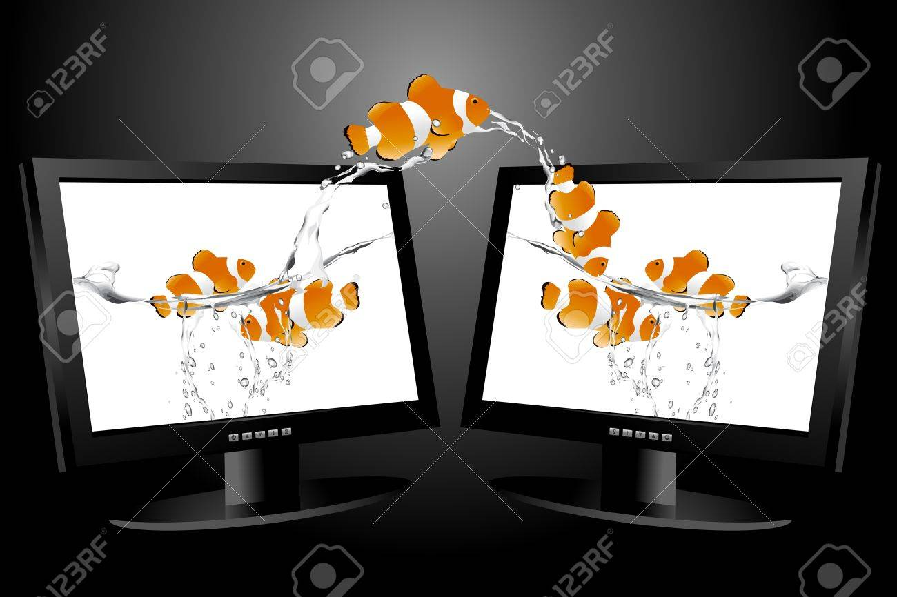 frontal view of widescreen lcd monitor, and clown fish jumping from monitor to another one. Stock Vector - 8297806