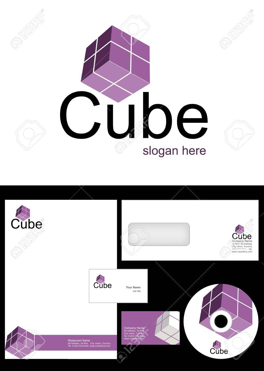 Cube Logo Design and corporate identity package including logo, letterhead, business card, envelope and cd label Stock Vector - 12947690