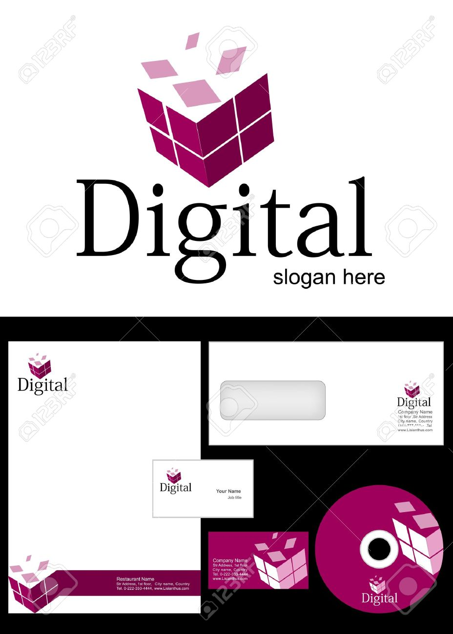 Digital Logo Design and corporate identity package including logo, letterhead, business card, envelope and cd label. Stock Vector - 12959748