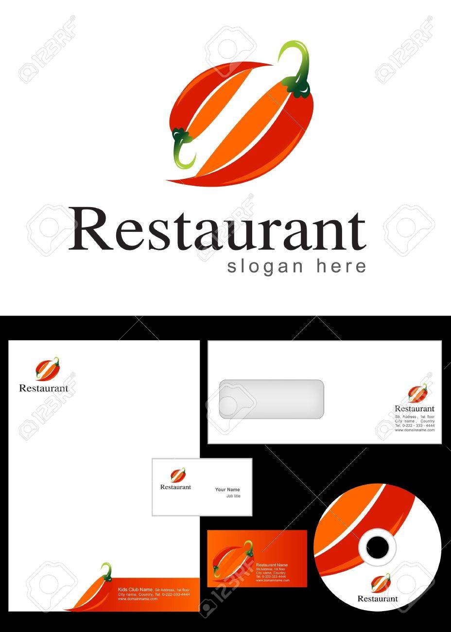 Restaurant Logo Design and corporate identity package including logo, letterhead, business card, envelope and cd label. Stock Vector - 12959773