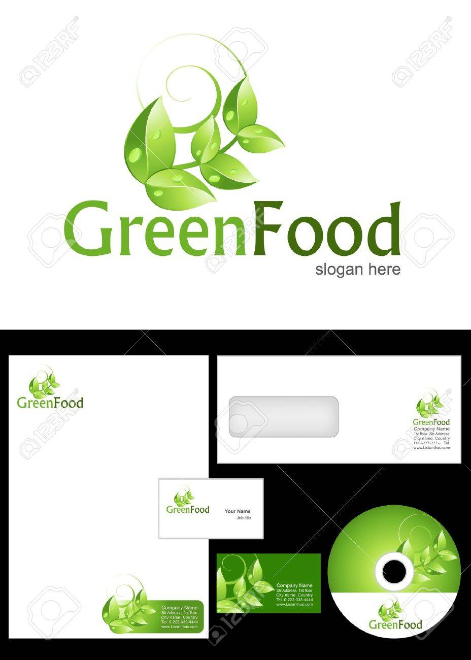 Green food logo design and corporate identity package including green food logo design and corporate identity package including logo letterhead business card reheart Choice Image