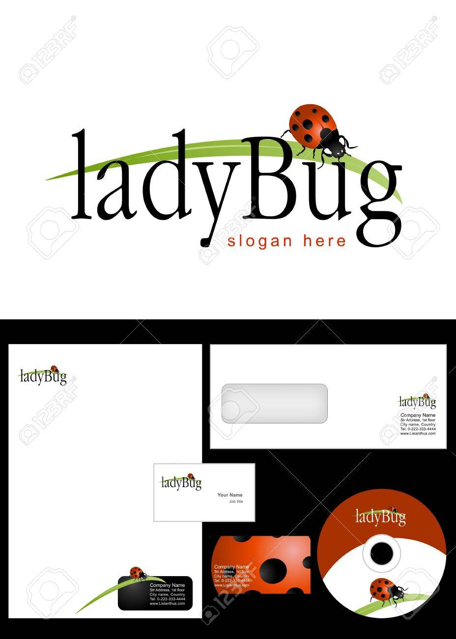 Ladybug Logo Design and corporate identity package including logo, letterhead, business card, envelope and cd label. Stock Vector - 12959792