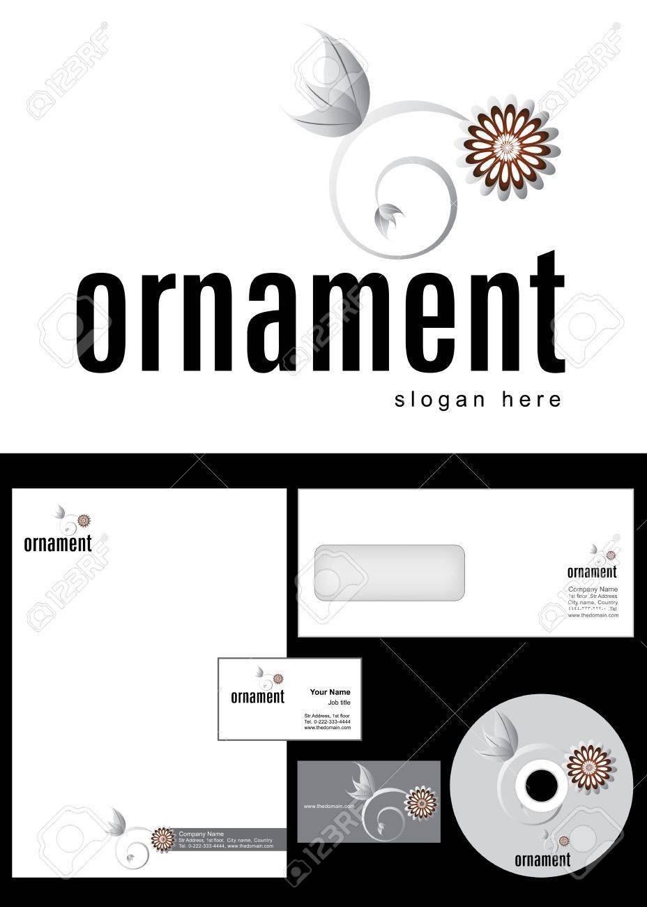 Ornament Logo Design and corporate identity package including logo, letterhead, business card, envelope and cd label. Stock Vector - 12959833
