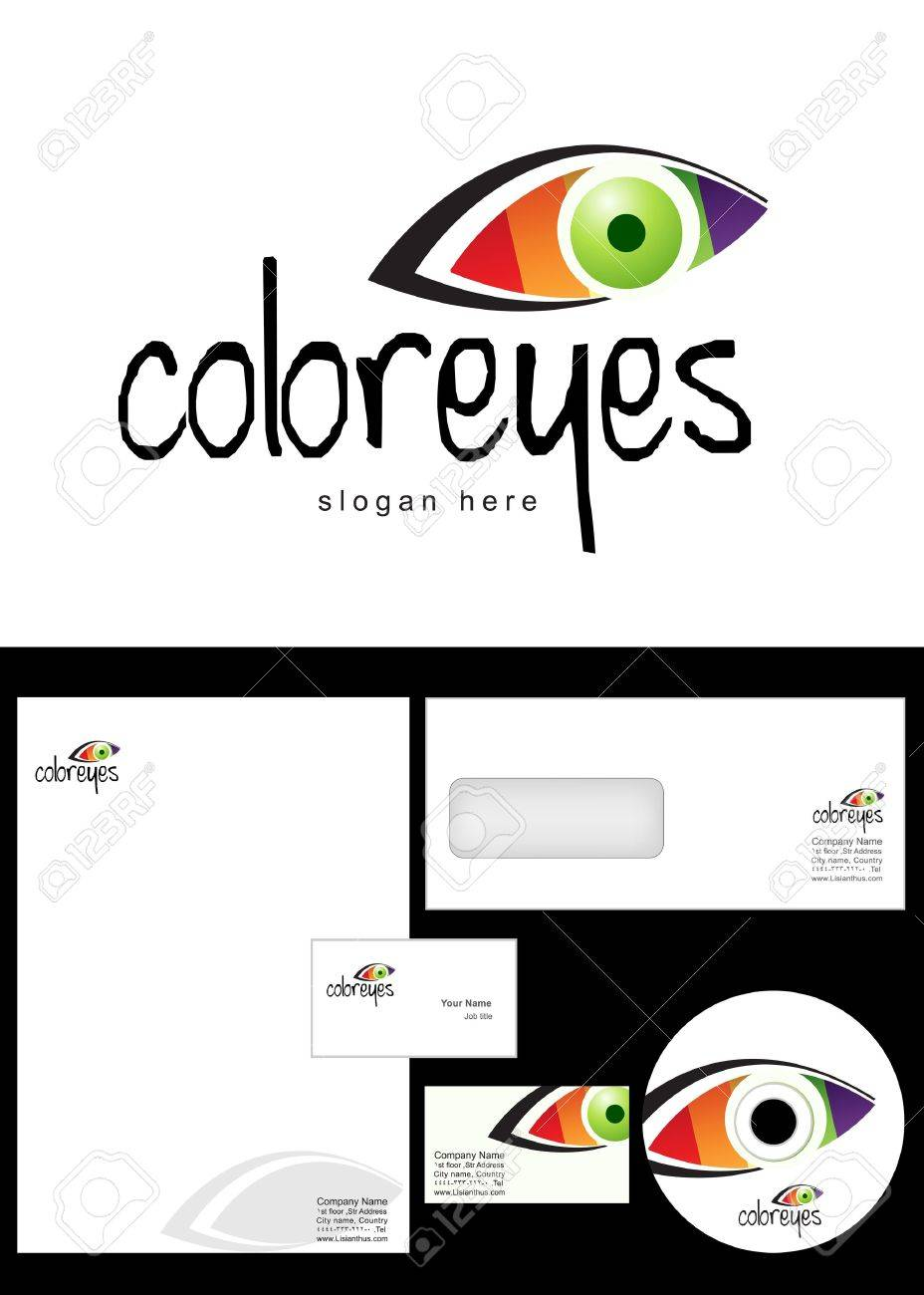 color eyes Logo Design and corporate identity package including logo, letterhead, business card, envelope and cd label. Stock Vector - 12959828