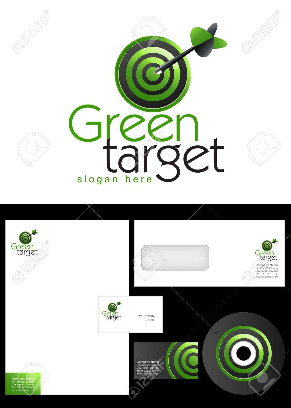Green Target Logo Design And Corporate Identity Package Including ...