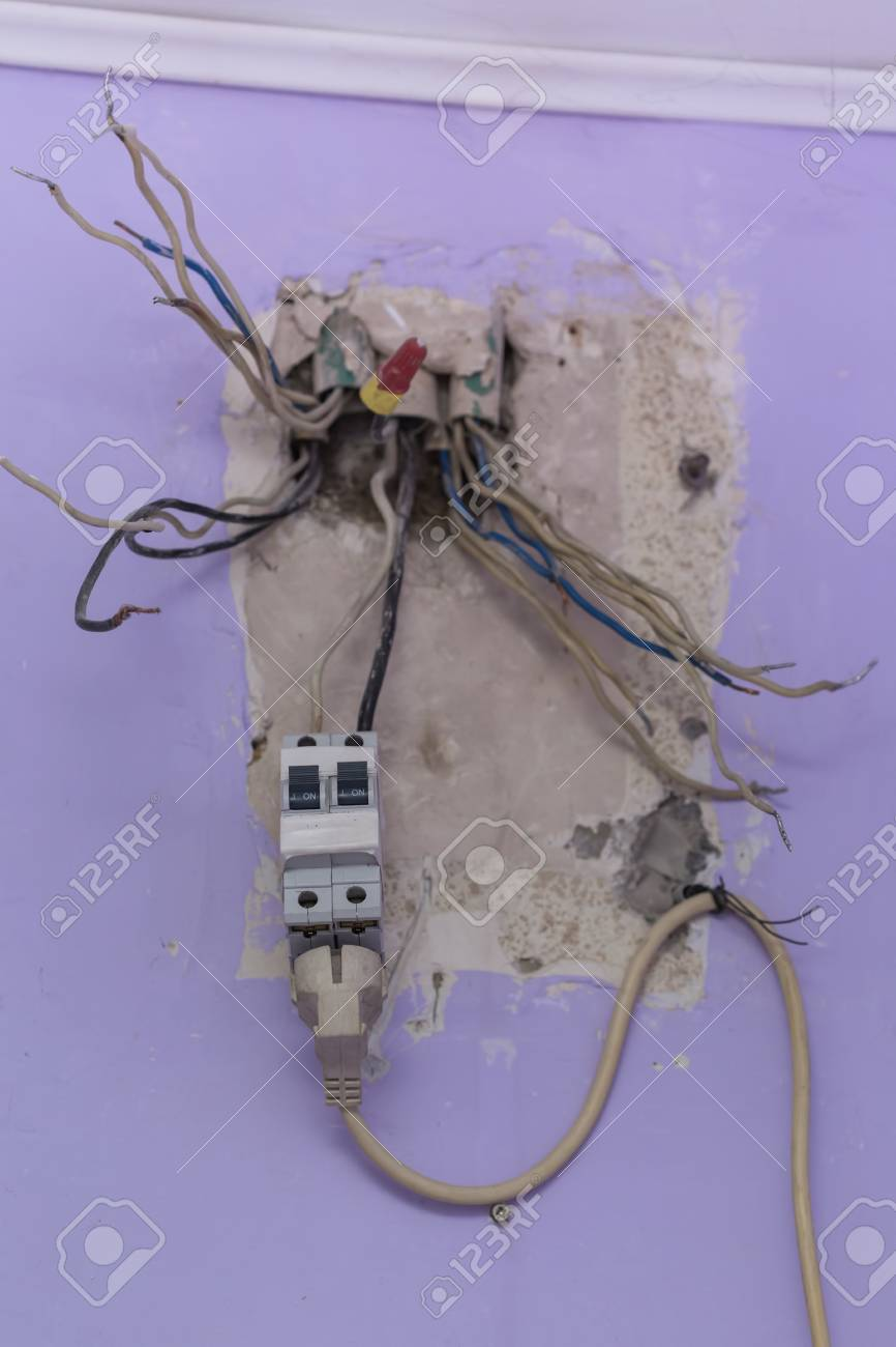 Old Electrical Panel Switch With Wires Mounted In Wall Stock Photo ...