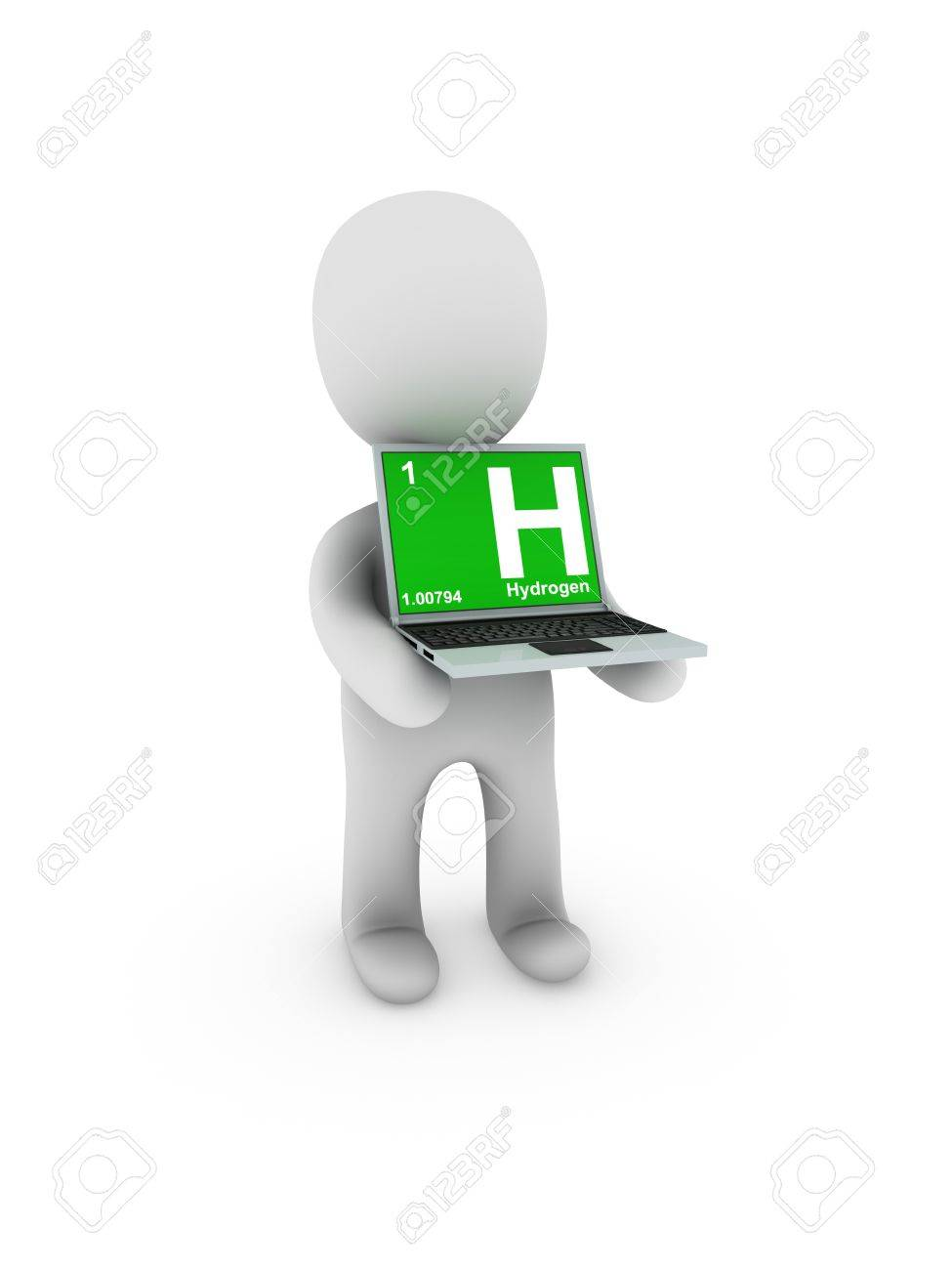 hydrogen symbol on screen laptop Stock Photo - 13538854