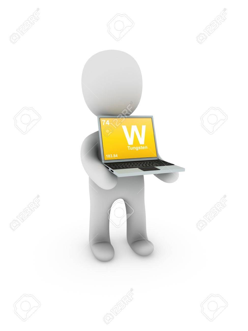 tungsten symbol on screen laptop Stock Photo - 13538918