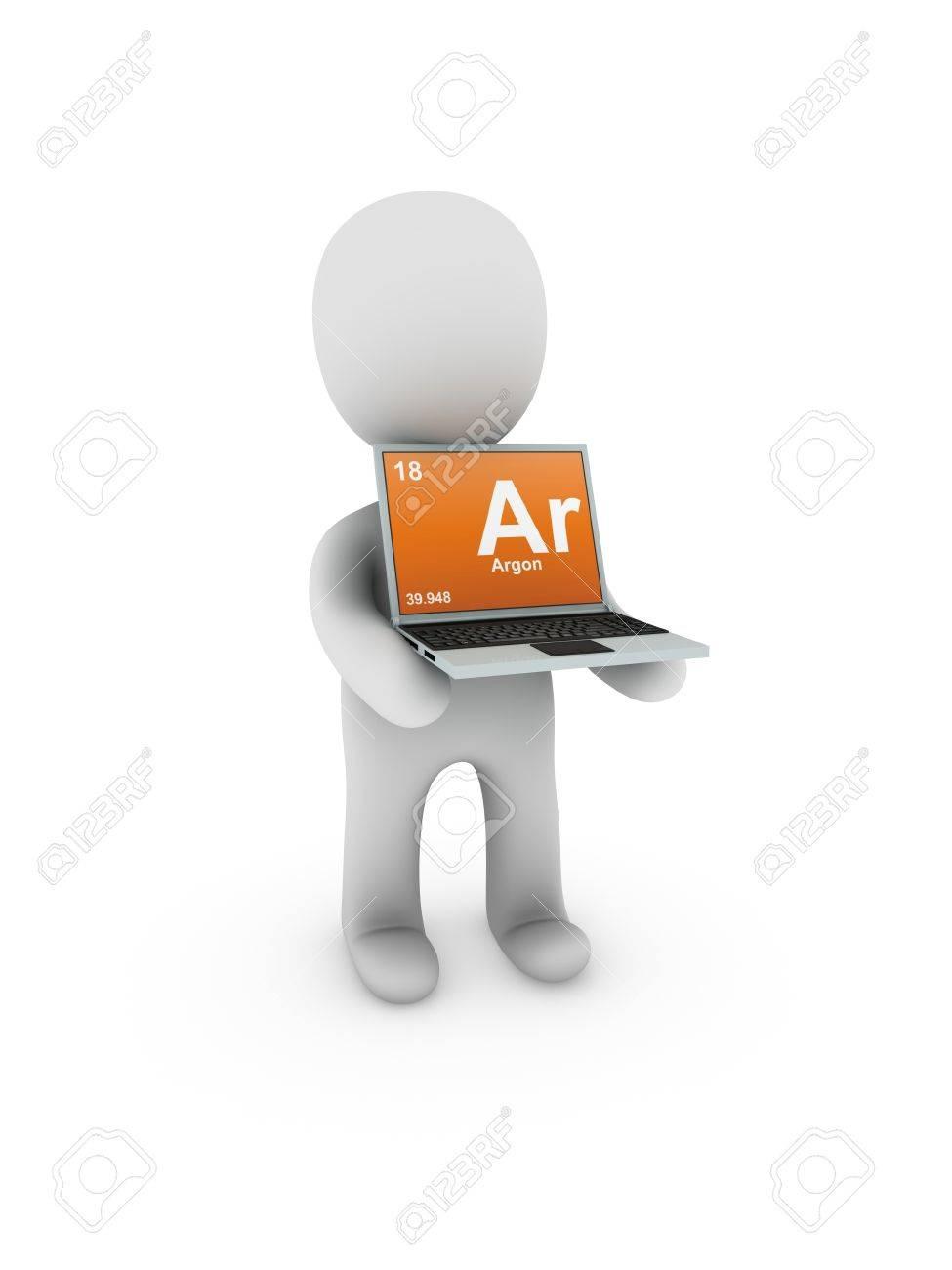 argon symbol on screen laptop Stock Photo - 13539314