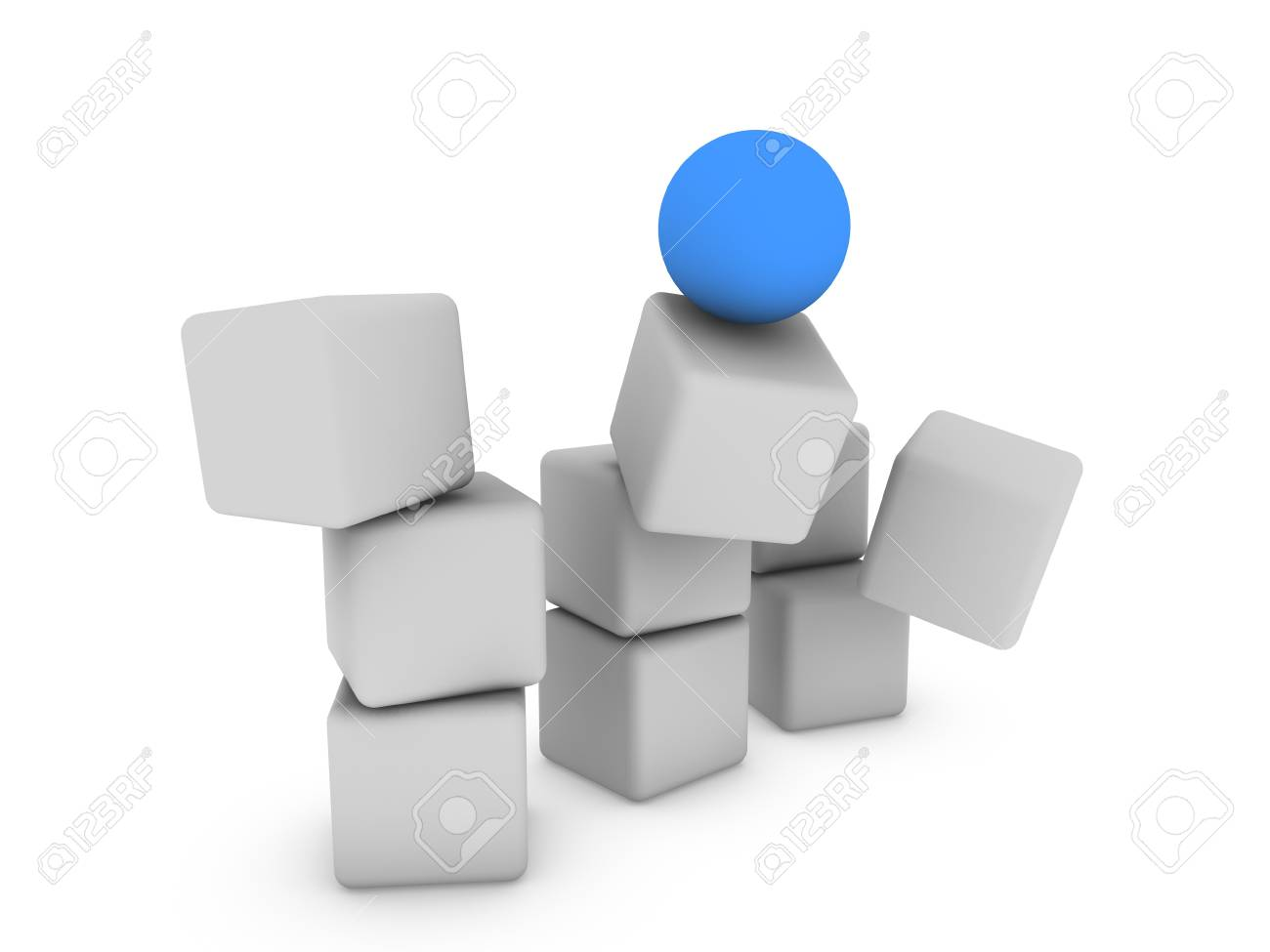 blue sphere on the cubes Stock Photo - 13989852