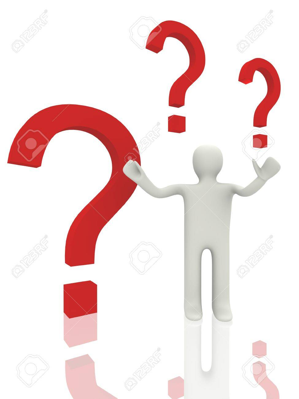 3d person with question sign Stock Photo - 14034315