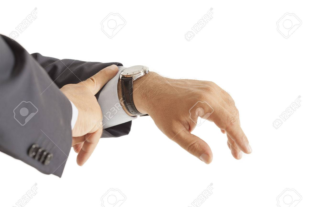 Businessman checking the time on isolated - 29075453