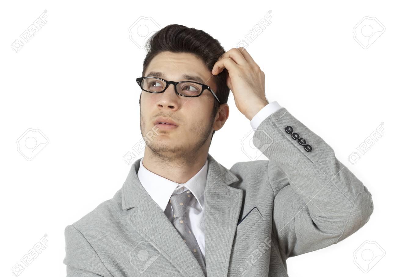 頭をかく青年実業家 の写真素材 画像素材 Image